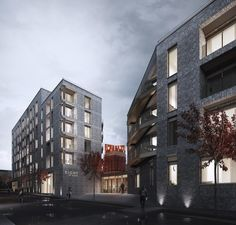 St Michael's Phase II is located in the Ropewalks area of Liverpool and sits directly adjacent to… Brick Design, Exterior Design, Brick Rendering, City Block, Brick Facade, Brick Building, St Michael, Modern Architecture, Apartments