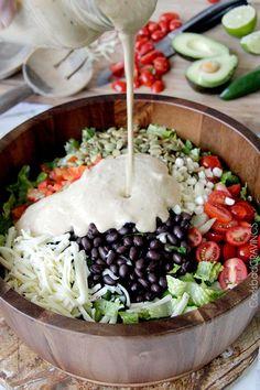 Southwest Pepper Jack Salad w/ Creamy Avocado Salsa Dressing | Carlsbad Cravings.