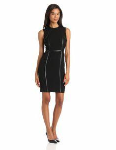 Calvin Klein Women's Sheath Dress With Piping, Black/Black