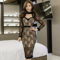 Buy Now (Elegant OL Lace Halter V-Neck Pencil Dress) from Sheetag - https://www.sheetag.com/product/elegant-ol-lace-halter-v-neck-pencil-dress/