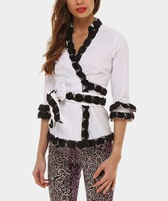 Black & White Rosette Wrap Top