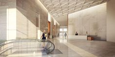 Hudson Yards Towers Get Addresses, New Renderings - Curbed NYclockmenumore-arrow : Office Building Lobby, Office Lobby, Office Entrance, Sydney City, Hudson Yards, Lobby Interior, Lobbies, Modern Spaces, House Design