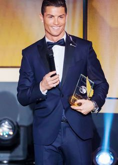 Cristiano Ronaldo Real Madrid and Portugal forward after being selected in the 2014 FIFA FIFPro World XI during the FIFA Ballon d'Or award ceremony at the Kongresshaus in Zurich on January 12, 2015.