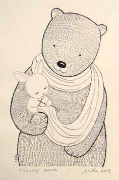 Bear & Bunny By MikaArt @ Etsy