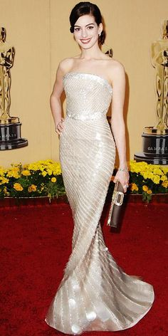 The Most Breathtaking Oscars Gowns - Anne Hathaway, 2009 from #InStyle Giorgio Armani
