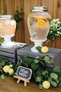 Beverage dispenser from a Rustic Lemon Themed Baby Shower on Kara's Party Ideas | KarasPartyIdeas.com (20) #ad