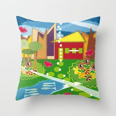 Love My House Toyism Throw Pillow cover by Ramon Martinez Jr - $20.00