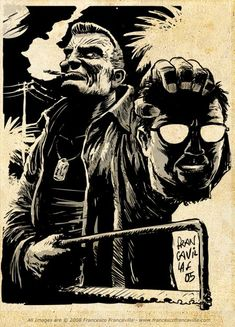 Marv holding Kevin's severed head-Sin City- Art by Francesco Francalla Comic Book Heroes, Comic Books Art, Comic Art, Book Art, Frank Miller Sin City, Frank Miller Art, Arte Dc Comics, Bd Comics, Image Comics
