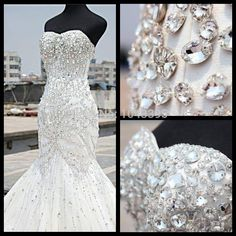 Aliexpress.com : Buy 2015 Luxury Crystal Mermaid Wedding Dress Sweetheart Strapless Floor Length Heavily Rhinestone Bridal Dresses Real Photos from Reliable dress and style dora suppliers on Forever's Bridal Fashion Store