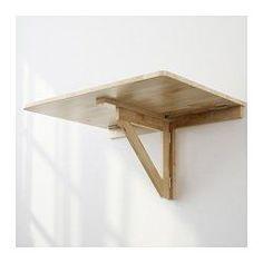 IKEA - NORBO, Table murale à rabat, Pliante, la table occupe peu de place lorsqu'elle n'est pas utilisée.Le bois massif est un matériau naturel et solide.