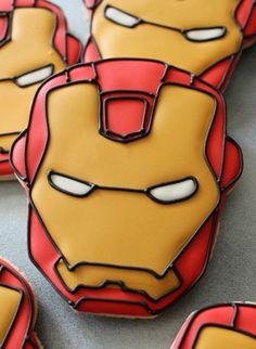 Iron Man Cookies_SweetSugarBelle//como pintar un ironman super super bien Man Cookies, Cupcake Cookies, Sugar Cookies, Cupcakes, Superhero Cookies, Superhero Cake, Superhero Treats, Bolo Dino, Iron Man Party