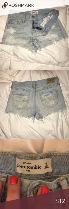 Distressed denim shorties Light blue distressed short shorts Super cute abercrombie kids Bottoms Shorts