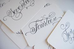 Handwritten Wedding Calligraphy Table Numbers by LittlePinkPaperie, $10.00