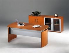 Enjoy this modern wood veneer office furniture set from the Mayline Napoli collection. This executive package includes a model Mayline Napoli desk and matching VLC model glass accented executive wall storage cabinet.