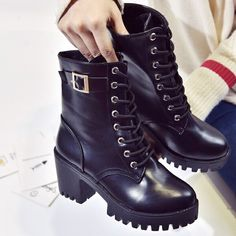 Black Leather Women Winter Boots Soft Leather Martins Ankle Women Shoes Brand Quality Warm Punk Gothic Steampunk