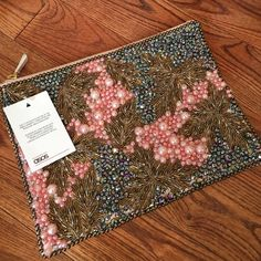 Brand new Embellished ASOS clutch Embellished front with beautiful beading. Back is light pink leather. Never worn. ASOS Bags Clutches & Wristlets