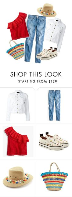 """""""A Red, White, and Blue Day"""" by onesweetthing ❤ liked on Polyvore featuring Dsquared2, J.Crew, RED Valentino, Eric Javits, Mystique, jcrew, mystique and redwhiteblue"""