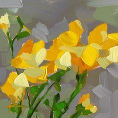 Yellow Freesia original floral oil painting by por prattcreekart