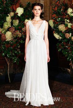 Brides.com: . Trend: Deep V. Sleeveless A-line wedding dress with a deep v-neckline, Austin Scarlett