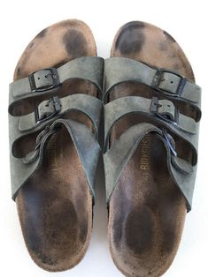 c1ec19305a38f Birkenstock Mens Blue Suede Leather Three Strap Sandals Size 41 US 8