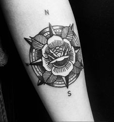 Traditional Rose Compass Done by Travis Rude @ Kings Cross Tattoo Parlour.