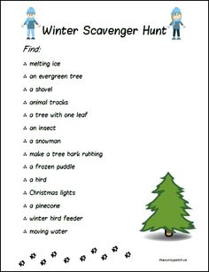 FREE Winter Scavenger Hunt for Kids- The Sunny Patch has a FREE printable Winter Nature Scavenger Hunt that you can use to even fit in a bit of school time while you're outside. Go check out h Outdoor Scavenger Hunts, Nature Scavenger Hunts, Scavenger Hunt For Kids, Outdoor Education, Outdoor Learning, Babysitting Activities, Fun Activities, Winter Outdoor Activities, Indoor Activities For Adults