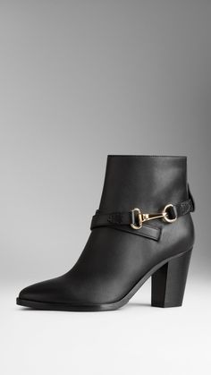 Polished Metal Buckle Ankle Boots   Burberry