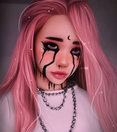This HAS to be Billie eilish,in her song when the party's over Rock Kunst, Dibujos Tumblr A Color, Maquillage Halloween, Digital Art Girl, Halloween Art, Anime Art Girl, Makeup Art, Comic Makeup, Pink Hair