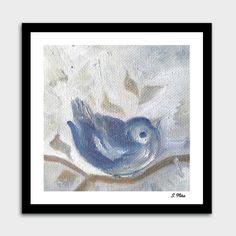 A Little Sparrow. Cute Bird In Cold Winter. Original Oil