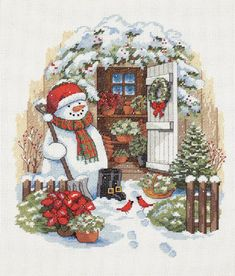 """Snowmans Holiday Shed Cross Stitch Pattern***L@@K***YOUR FINISHED PATTERN SIZE.  306 Stitches x 360 Stitches 17.0"""" X 20.0"""" ON (18 COUNT) AIDA CLOTH.  ~~ I SEND WORLD-WIDE ~~Free"""