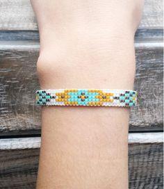 Bracelet manchette tissé en perles miyuki - Argent / bleu turquoise / orange / blanc - Style ethnique / bohème / hippie chic