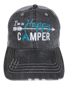 "Embroidered ""I'm A Happy Camper"" (Mint Letters) Grey Trucker Cap!  Order at www.shopspiritcaps.com!"