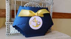 Ships Ahoy! The Original Nautical Theme Baby Shower Invitation - Custom Diaper Die Cut. What a fun and exciting way to invite guests to the baby shower you are hosting! These super posh diaper invitations can be completely customized to match your theme or favorite color*! *{$8
