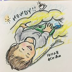 【Around midnight】比較的寝起きがいいムスッコ。目が合うとニコニコちゃん。Osuke wakes up and makes a great smile when he sees us! #baby #drawing #illustration #6months #赤ちゃん #6ヶ月 #イラスト #おえかき #寝起き #wakeup #smile #笑顔