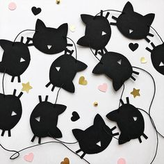 Cat Paper Garland Black Cat Birthday Party Decorations Bachelorette Party Decoration Kitten Birthday Garland Meow Birthday Banner Girls Room -- Garland is made from high quality cardstock. Cats are strung on the twine and you can move along it and freely change the distance between them,
