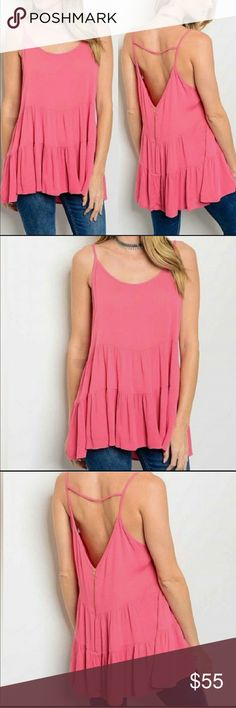 Pink Tiered Tank Top 100% Rayon pink tiered top • brand new • Available in small and medium   • Offers Welcome • Bundle Discounts  • Suggested User • Fast Shipper Tops Tank Tops