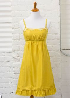 0957ef83c7f Anthropologie Viola 4 Saffron Step 100% Silk Dress Yellow Lace Shoulders   138.  Anthropologie