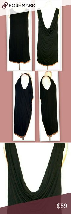 """Haute Hippie Low Draped Back Dress Simple, sophisticated and sexy dress by Haute Hippie. Black matte jersey knit. High front with a draped low back. Fabric is doubled on the bodice.  Marked size M Bust 38"""" Waist 40"""" Hips 40"""" Length 35"""" Haute Hippie Dresses"""
