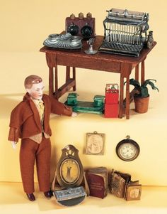 Antique Dolls and Toys of LEGO - Session 1: 253 German Bisque Dollhouse Man with Office Miniature Accessories