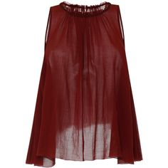Isabel Marant Cotton Gauze Good Top In Rust ($590) ❤ liked on Polyvore featuring tops, sleeveless high neck top, gauze tops, red ruched top, ruched sleeveless top and asymmetrical hem top