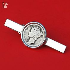 US 1937 Mercury Dime 90% Silver 10 Cent Coin Silver Plated Tie Clip Bar Pin NEW - Groom fashion accessories (*Amazon Partner-Link)