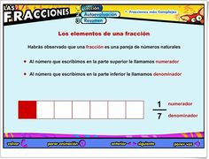 """Las fracciones: """"Fracciones más complejas"""" (Aplicación interactiva de Matemáticas de Primaria) Map, Maths Area, Teaching Resources, Learning, Location Map, Maps"""