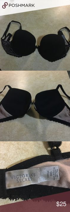 PINK Victoria's Secret push up bra 32D Barely used, Black and Tan colors, with lace sides Victoria's Secret Intimates & Sleepwear Bras