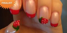 StrawberryliciousA simple colored french manicure with a fruity twist!