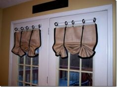 burlap window treatments: relaxed Roman shade valances with contrast trim and ties. Burlap Window Treatments, Kitchen Window Treatments, Window Coverings, Burlap Drapes, Rustic Curtains, Kitchen Curtains, Country Curtains, Kitchen Doors, Cute Curtains