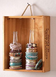 Clever way to reuse old bottles and store bracelets