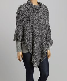 Another great find on #zulily! Black & Gray Button Poncho - Plus #zulilyfinds