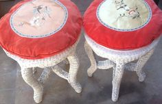 Vintage Wicker Stools Red Velvet Asian by New Vintage by Tosh on Etsy