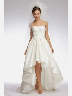 Chic Draped A-line Scallop Hi-low Desinged Satin Informal Wedding Dress - Didobridal wd488