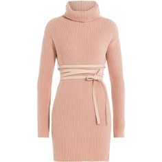 Valentino Virgin Wool Turtleneck Pullover (€1.290) ❤ liked on Polyvore featuring dresses and rose